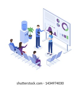 Project presentation isometric color illustration. Speaker at business convention, workers 3d cartoon characters. Corporate trainings, seminar, business school, employer explaining diagrams on board