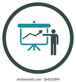 Project Presentation vector icon. Style is bicolor flat circled symbol, soft blue colors, rounded angles, white background.