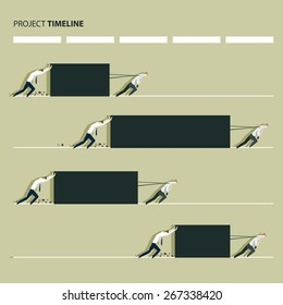 Project production time line concept, manager pulling a heavy load