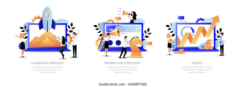 Project promotion and digital marketing strategy business concept. Creative people team launch startup, promotes and get profit. Vector flat cartoon trendy illustration. Successful teamwork process.