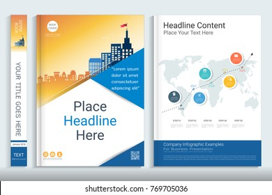Project proposal template with presentation infographics elements, Use for proposal, annual report, portfolio, brochure, flyer, leaflet, catalog, magazine, booklet, Vector template in A4 layout.