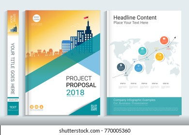 project proposal template presentation infographics elements stock