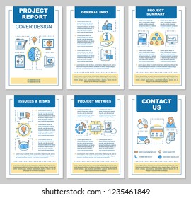 Project report brochure template layout. Auditing. Flyer, booklet, leaflet print design with linear illustrations. Accounting and bookkeeping. Vector page layouts for magazines, annual reports, poster
