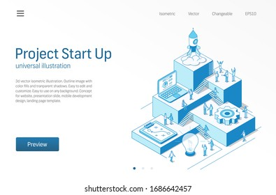 Project Start Up. Business people teamwork. Success startup modern isometric line illustration. Development process, innovation product, rocket launch vector icon. Growth step infographic concept.