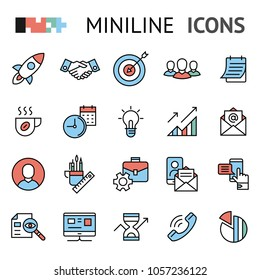 project startup, buisness plan, idea, flat line vector icons