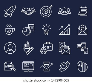 project startup planning communication teamwork cooperation flat line icons vector background banner illustration