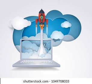 Project Startup, Rocket ship launching from destop computer to sky cloud, Business idea start up concept, Successful, Challenge, Creative ideas, Reach the target, Paper art vector and illustration.