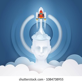 Project Startup. Rocket ship launching from Head, Abtract Start Icon Background, Business start up concept, Successful, Challenge, Creative ideas, Reach the target, Paper art vector and illustration.