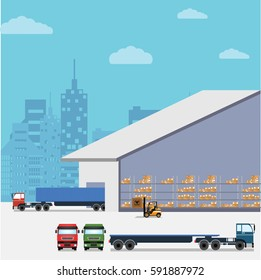 Project for the supply and demand concept. Which includes various trucks and a warehouse.
