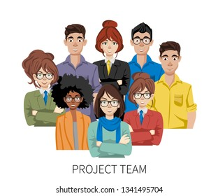 Project team avatars. Teamwork and brainstorming concept. Join our team concept. Flat vector illustration