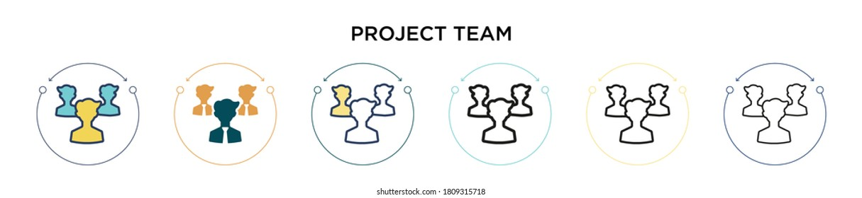 Project team icon in filled, thin line, outline and stroke style. Vector illustration of two colored and black project team vector icons designs can be used for mobile, ui, web