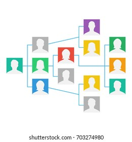 Project Team Organization Chart Vector. Colleagues Working Together. The Hierarchical Diagram Illustration