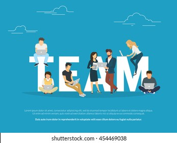 Project teamwork concept illustration of business people working together as team. Manager, designer, programmer and colleagues using laptops. Flat vector for community website banner and landing page