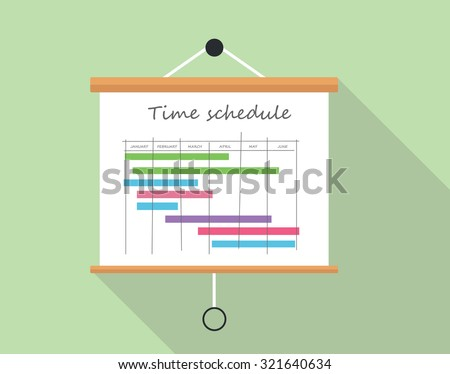 project time schedule presentation board illustration stock vector