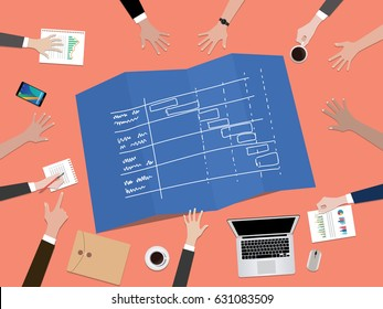 project timeline schedule concept illustration with hand team work together on top of the table vector