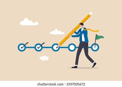 Suivi du projet, suivi des objectifs, achèvement de la tâche ou liste de contrôle pour rappeler le concept d'avancement du projet, chef de projet homme d'affaires tenant un grand crayon pour vérifier les tâches terminées dans le calendrier de gestion du projet.