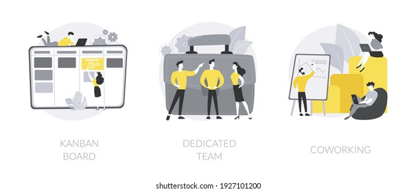 Project workflow abstract concept vector illustration set. Kanban board, dedicated team, coworking for freelancers, agile project management, scrum meeting, IT outsource abstract metaphor.