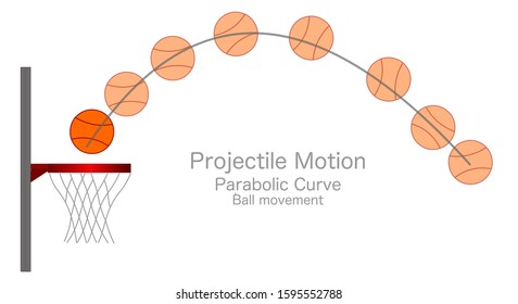 Projectile Motion. Kinematics. Parabolic curve. Curved, parabola road drawn in the air by a basketball ball movement. Basket anatomy. Physics lesson example. Drawing Vector