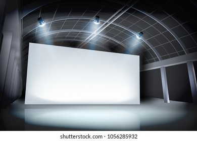 Projection screen in art gallery. Place for the exhibition. Vector illustration.