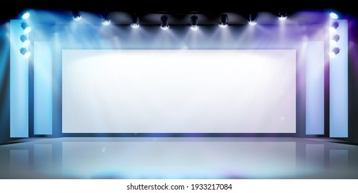 Projection screen on the stage. Exhibition in art gallery. Free space for advertising. Vector illustration.