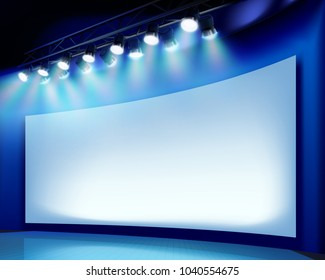 Projection screen on the stage. Vector illustration.