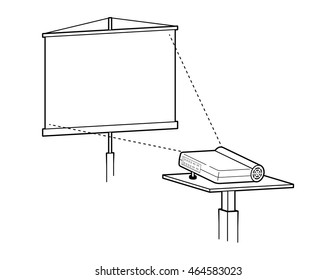 Projector and blank projection screen, vector illustration.