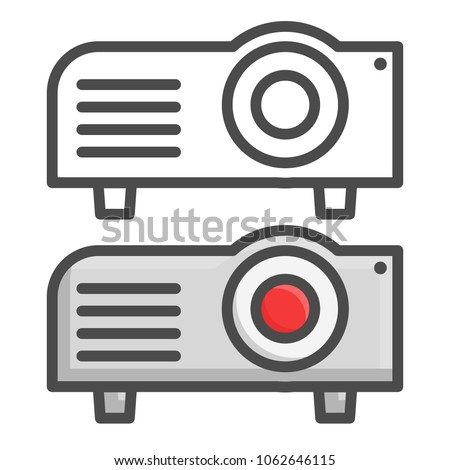 Projector flat icon, presentation and meeting, vector graphics, line and color icons on a white background, eps 10.