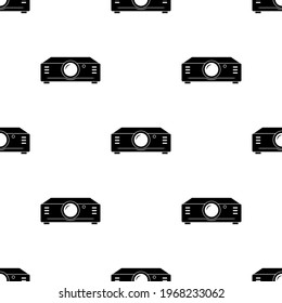Projector Icon Seamless Pattern, Image Projector, Electronic Optical Image Projecting Device Vector Art Illustration