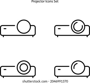 projector icons set isolated on white background. video projector icon thin line outline linear video projector symbol for logo, web, app, UI. video projector icon simple sign.