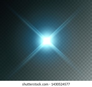 Projector light effect. Blue glowing stage light ray isolated on transparent background. Vector bright flare scene spotlight. Glow headlight, glare, glint lense or vivid star burst beam.