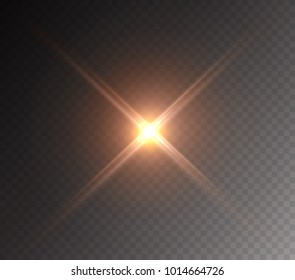 Projector light effect. Yellow glowing stage light ray isolated on transparent background. Vector bright flare scene spotlight. Glow headlight, glare, glint lense or vivid star burst beam.