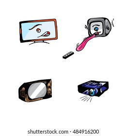 Projector old television flat crt drawing illustration vector set
