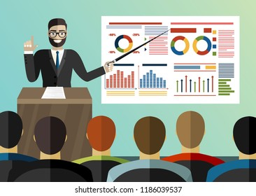 Projector screen with chart and lecturer do presentation to other business people. Training staff, meeting, report, business school. illustration in flat style