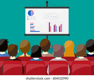projector screen with financial report. Training staff, meeting, report, business school. vector illustration in flat style.