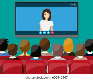 projector screen with financial report. Training staff, meeting, report, business school. vector illustration in flat style. Marketing mix
