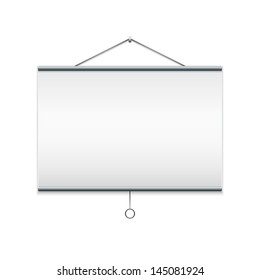 Projector screen. Isolated on white EPS10 vector illustration.