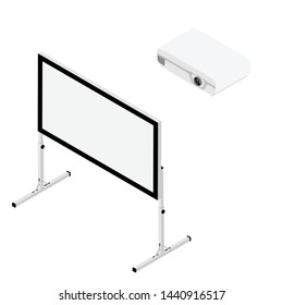 Projector and screen isometric view. Realistic video projector and white empty screen