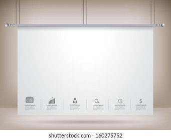 Projector screen on wall, Vector illustration template modern design