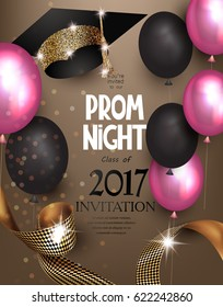 Prom night background with air balloons, ribbon and hat. Vector illustration