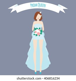 Prom queen flat illustration. Girl in fashion blue dress with roses and crown