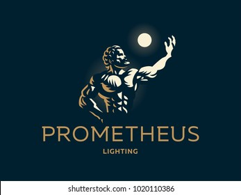 Prometheus holds the light in his hand. Vector emblem.