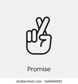promise gesture icon vector. Linear style sign for mobile concept and web design. promise symbol illustration. Pixel vector graphics - Vector.