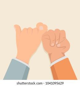 promise hands flat design