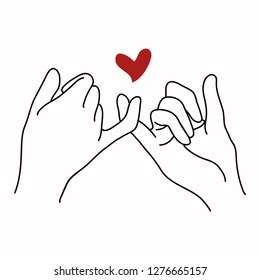 Promise  outline vector with red heart