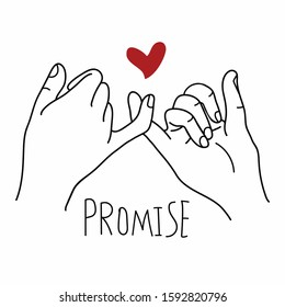 Promise  outline vector with red heart concept