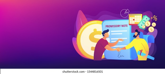 Promise to pay. Money borrowing document. Credit deal, legal contract. Promissory note, commercial paper form, simple loan agreement concept. Header or footer banner template with copy space..