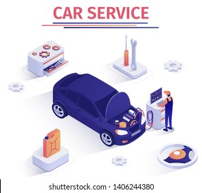 Promo Banner for Car Inspection Service. Scheduled Operation Auto Maintenance. Master Performs Computer Engine Diagnostics, Checks Piston Group, Tests Battery Charge. Vector Isometric 3d Illustration