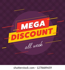 Vector design of banner promoting mega discount all week on purple background