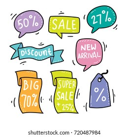 Promo Banner Vector Bubble with Hand Drawn and Doodle Style suitable for Discount and Sale Advertising