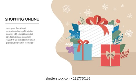 Promo Christmas, New Year banner, Sale poster and flyer with gift boxes and Xmas decorations